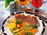 Rumpsteaks mit Bohnen-Möhren-Gemüse (4 Personen) Rezept