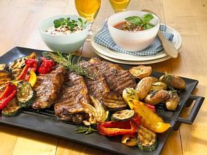 Rumpsteaks mit mit provencalischem Gemüse vom Grill Rezept