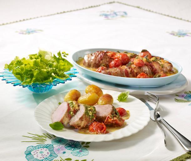 Sahnelendchen im Baconmantel zu Salat Rezept