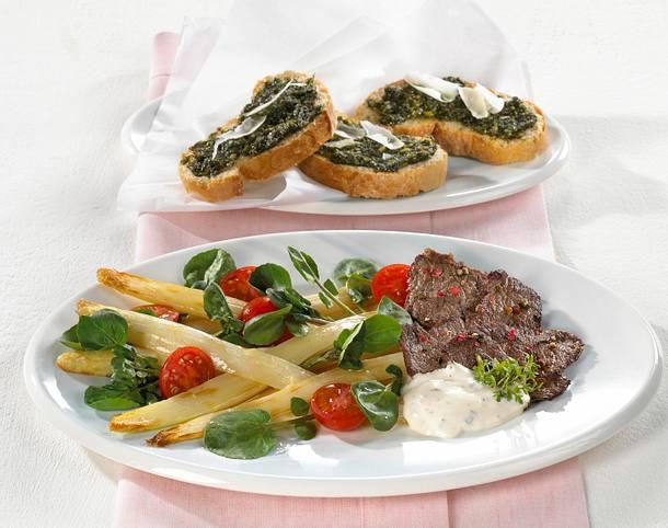 Salat mit gebratenem Spargel und Brunnenkresse Rezept