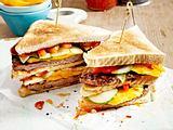 Sandwich-Turm mit Geflügel-Patty und Asia-Soße Rezept