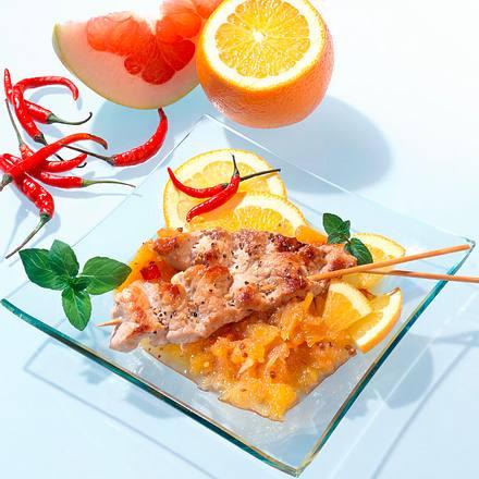 Saté-Spieße mit Pomelo-Orangen-Chutney Rezept