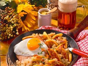 Sauerkraut-Schupfnudeln mit Leberkäse Rezept