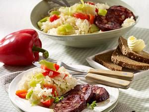 Sauerkrautsalat mit Blutwurst Rezept