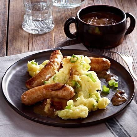 Sausages with celeriac champ Rezept