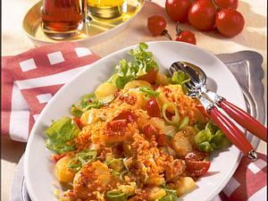 Scharfer Kartoffelsalat mit roten Linsen Rezept