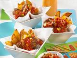 Schaschlik-Bällchen mit Kartoffelsticks Rezept