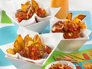Schaschlik-Bällchen zu Röstkartoffeln Rezept