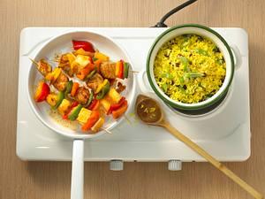 Schaschlik mit Curryreis Rezept