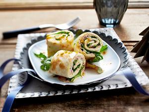 Schinkenröllchen auf Blattsalat Rezept