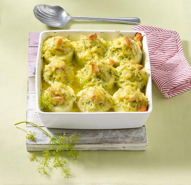 Schmorgurken-Lachs-Kartoffelauflauf Rezept