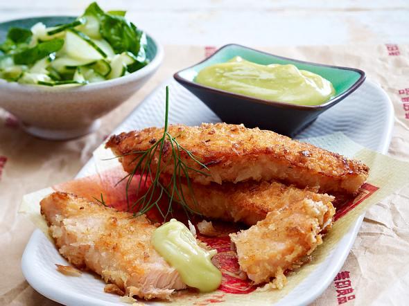 Schnelle Lachsstäbchen mit Wasabi-Salatcreme Rezept