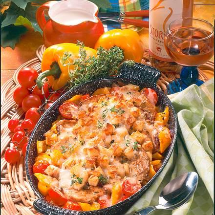 Schnitzel-Auflauf mit Weißbrot-Käse-Kruste Rezept