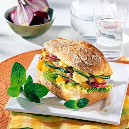 Schnitzel-Baguette mit Currycreme Rezept