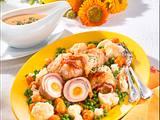 Schnitzel-Ei-Röllchen mit Buttergemüse Rezept
