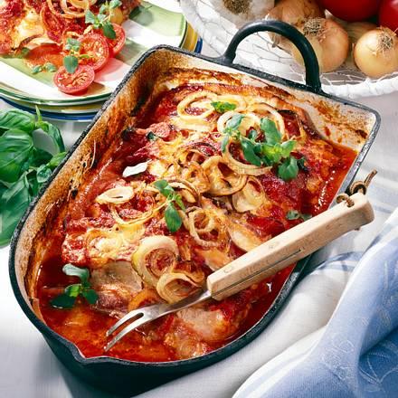 Schnitzel-Kasserolle mit Tomaten & Speck Rezept