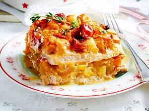Schnitzel-Lasagne mit Kartoffeln und Kürbis Rezept