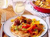 Schnitzel mit Paprika-Gemüse und Bratkartoffeln Rezept