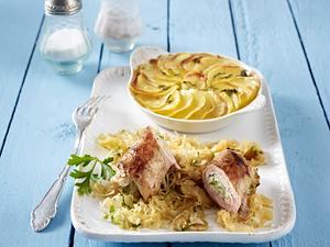 Schnitzelröllchen mit Kartoffelgratin (Schlank im Schlaf) Rezept