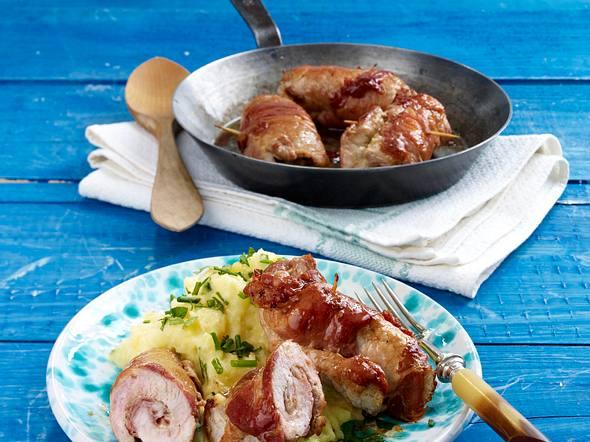 Schnitzelröllchen mit Kartoffelstampf Rezept