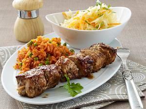 Schnitzelspieße mit Tomatenreis Rezept