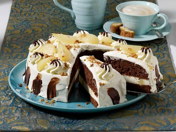 Schoko-Cantuccini-Torte mit Birnen Rezept