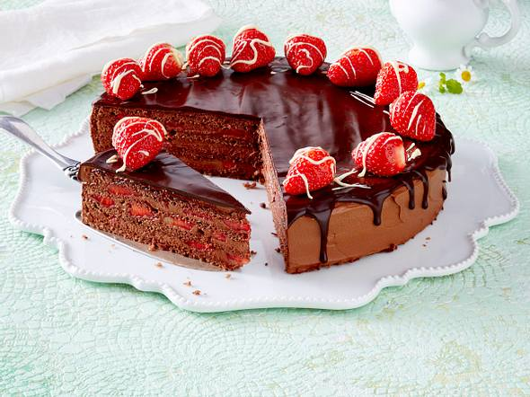 Schokoladen-Erdbeertorte Rezept