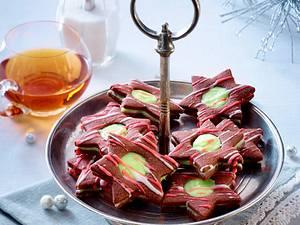 Schokoladen-Spitzbuben mit Minzcreme Rezept