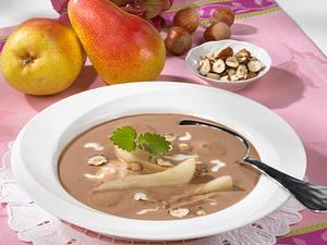 Schokoladensuppe mit pochierten Birnen Rezept