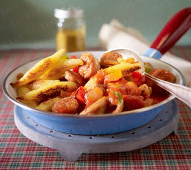 Schupfnudeln mit Curry-Bratwurst Rezept