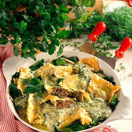 Schwäbische Maultaschen mit Kräutersahne überbacke Rezept