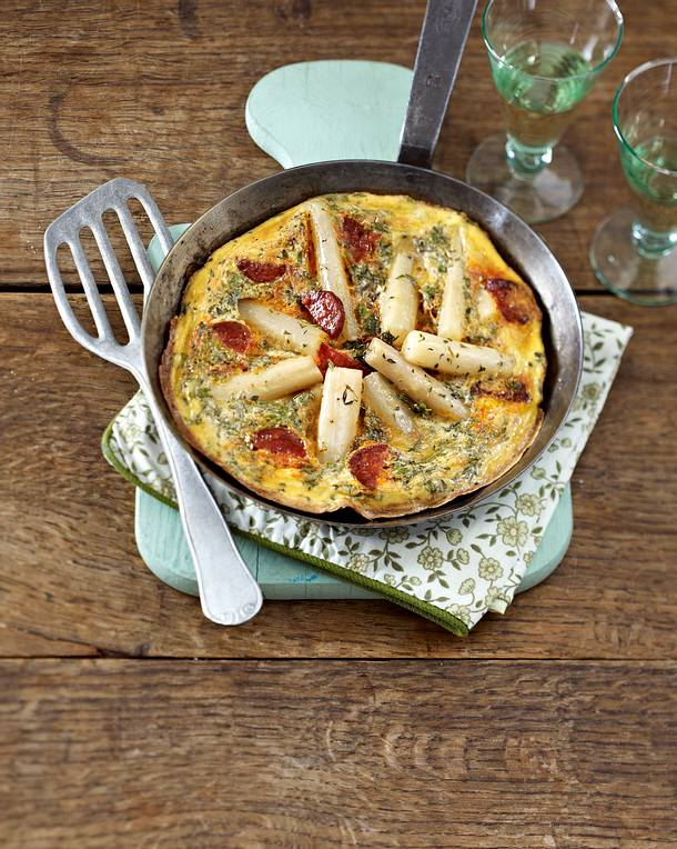 Schwarzwurzel-Omelett mit Chorizo Rezept