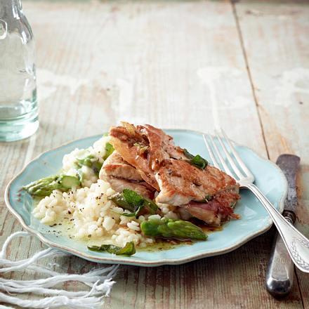 Schweine-Saltimbocca mit Risotto bianco Rezept