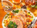 Schweinebraten mit Linsen-Steckrüben-Möhrengemüse Rezept