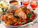 Schweinebraten mit Paprika-Austernpilz-Gemüse Rezept