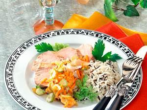 Schweinefilet mit Gemüse und Wildreis Rezept