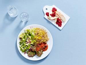 Schweinefilet mit Nudeln, Salat und Dessert nach der Mayo-Diät Rezept