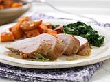 Schweinefilet mit Süßkartoffeln und Spinat Rezept