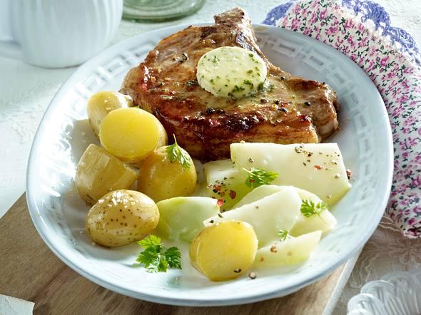 Schweinekotelett mit Kohlrabi und neuen Kartoffeln Rezept