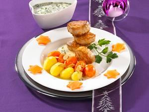 Schweinemedaillons mit Möhrengemüse und Mandelbutter Rezept