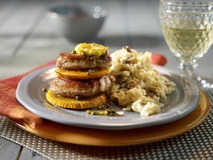 Schweinemedaillons mit Orangen-Butter und Pilzrisotto Rezept