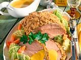Schweinenackenbraten mit Senfkruste auf Wirsing-Möhren-Gemüse Rezept