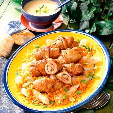 Schweinerouladen mit Linsen-Schwarzwurzel-Gemüse Rezept