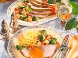Schweineschnitzelbraten mit Broccoli-Champignon-Gemüse Rezept