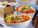 Seelachs mit Parmesan-Kruste auf Tomatennudeln Rezept