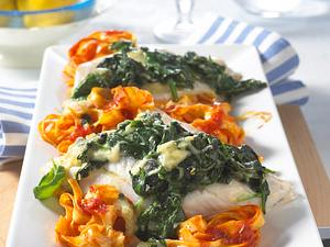Seelachs mit Spinat-Käse-Haube Rezept