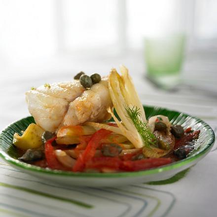 Seeteufel auf Tomaten-Fenchel-Gemüse Rezept