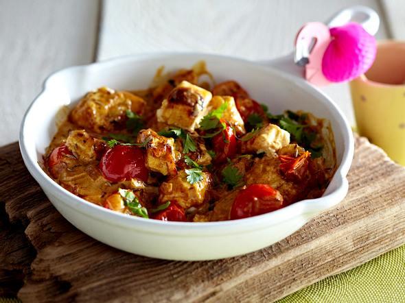 Selbst gemachter Paneer in Tomaten-Koriander-Curry Rezept