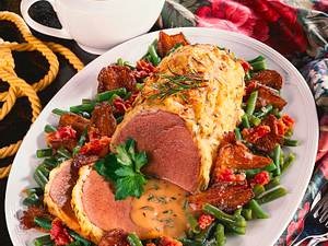 Semerolle mit Kartoffelkruste und Bohnen-Pilzgemüs Rezept