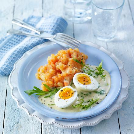 Senf-Eier mit Möhren-Kartoffelpüree Rezept